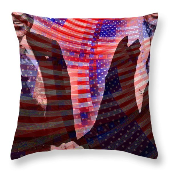 When Elvis Met Nixon Throw Pillow by Tony Rubino