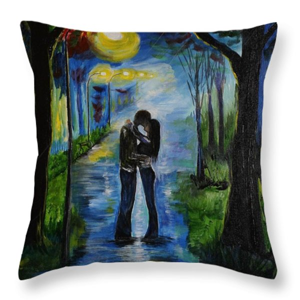 When We Fell In Love Throw Pillow by Leslie Allen