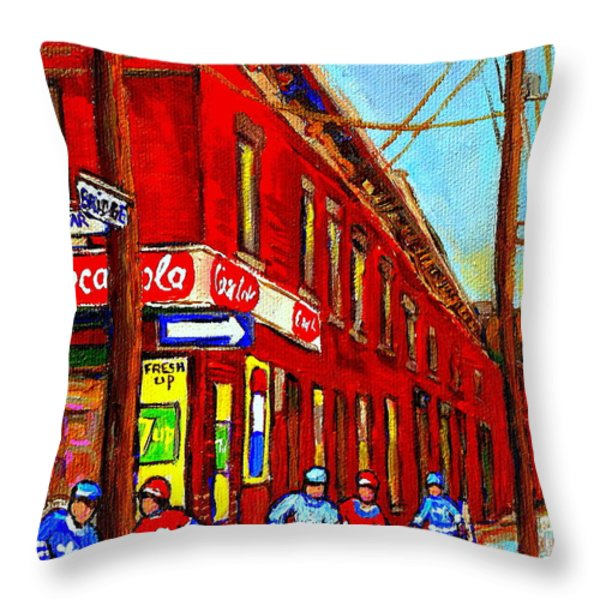 When We Were Young - Hockey Game At Piche's - Montreal Memories Of Goosevillage Throw Pillow by Carole Spandau