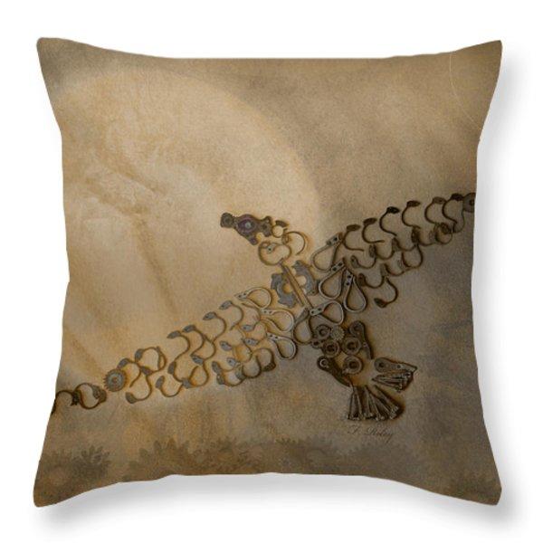 Where Eagles Soar-mechanical Eagle Throw Pillow by Fran Riley