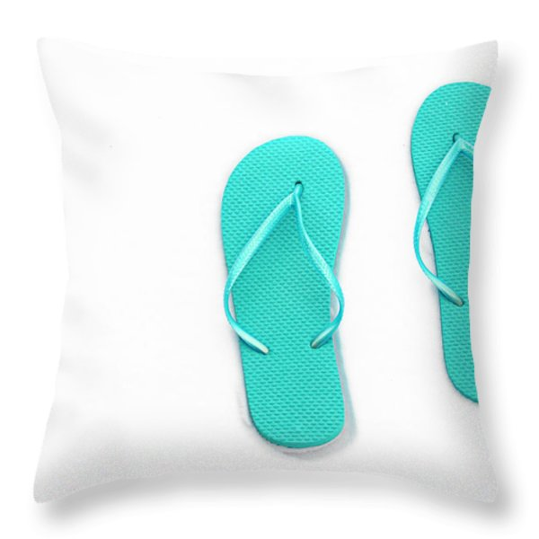 Where On Earth Is Spring - My Aqua Flip Flops Are Waiting Throw Pillow by Andee Design