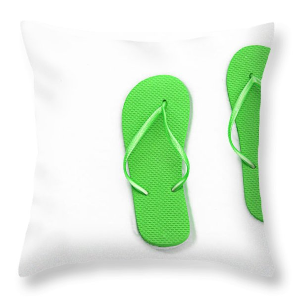 Where On Earth Is Spring - My Green Flip Flops Are Waiting Throw Pillow by Andee Design