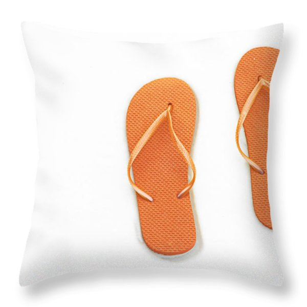 Where On Earth Is Spring - My Orange Flip Flops Are Waiting Throw Pillow by Andee Design