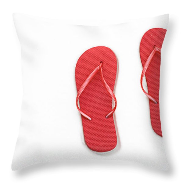 Where On Earth Is Spring - My Red Flip Flops Are Waiting Throw Pillow by Andee Design