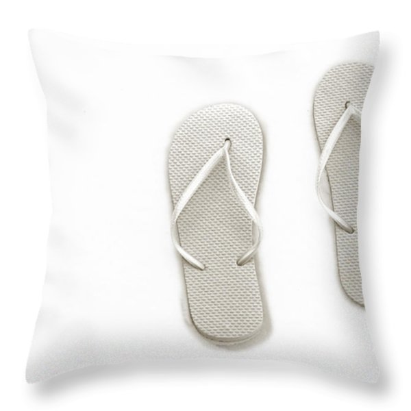 Where On Earth Is Spring - My Silver Flip Flops Are Waiting Throw Pillow by Andee Design