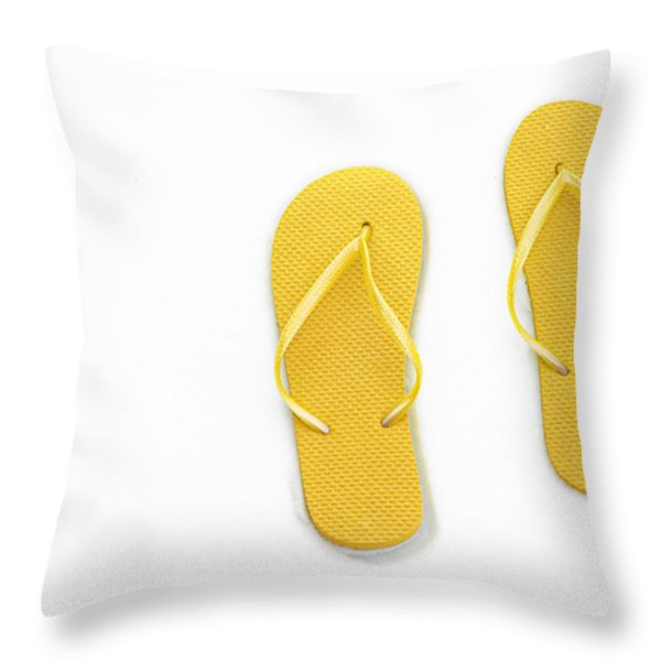 Where On Earth Is Spring - My Yellow Flip Flops Are Waiting Throw Pillow by Andee Design