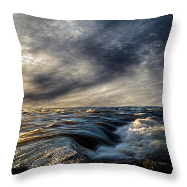 Where The River Kisses The Sea Throw Pillow by Bob Orsillo