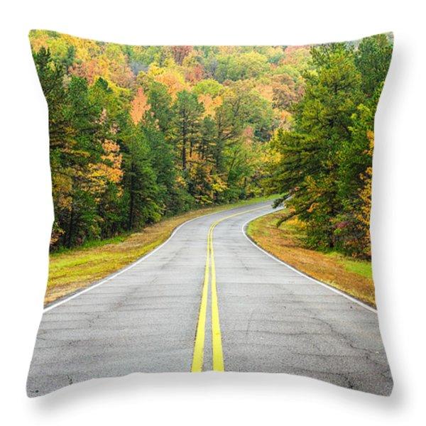 Where this Road will Take You - Talimena Scenic Highway - Oklahoma - Arkansas Throw Pillow by Silvio Ligutti