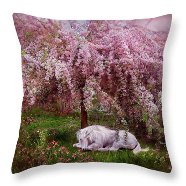 Where Unicorn's Dream Throw Pillow by Carol Cavalaris