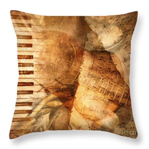 While My Guitar Gently Weeps Throw Pillow by Lianne Schneider
