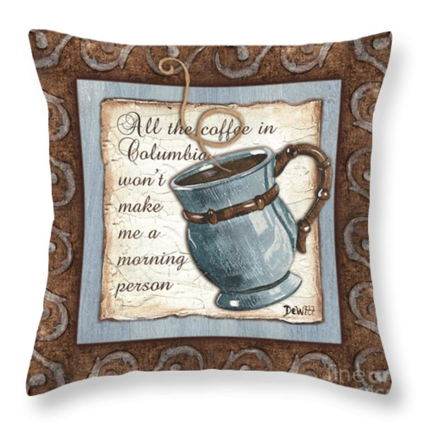 Whimsical Coffee 1 Throw Pillow by Debbie DeWitt