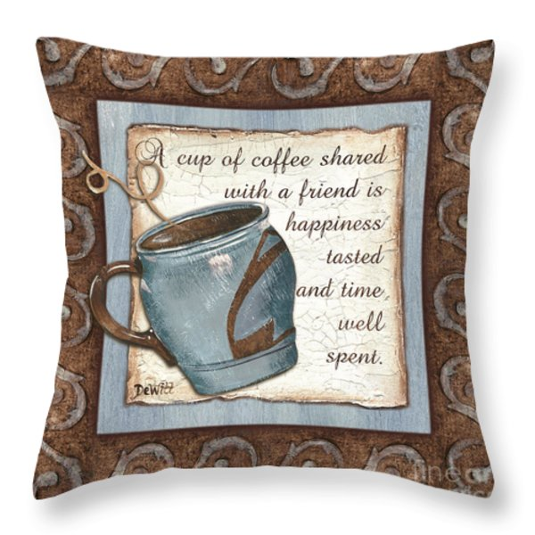 Whimsical Coffee 2 Throw Pillow by Debbie DeWitt