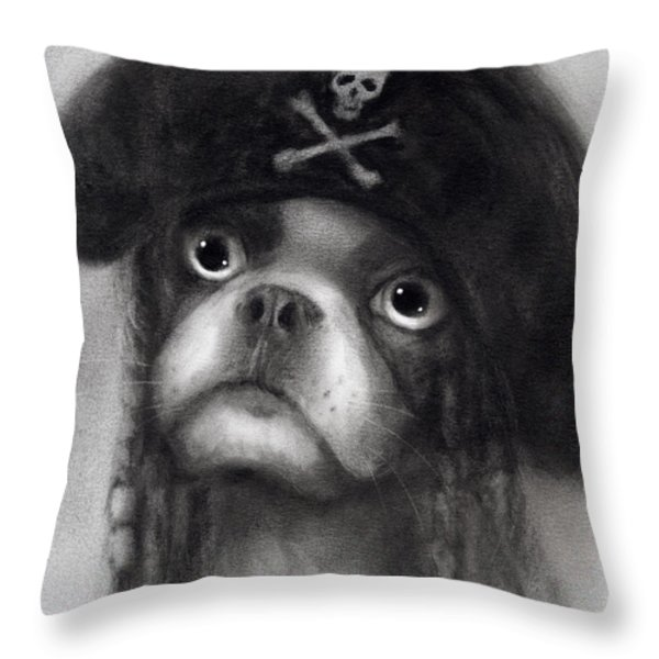Whimsical Funny French Bulldog Pirate  Throw Pillow by Svetlana Novikova