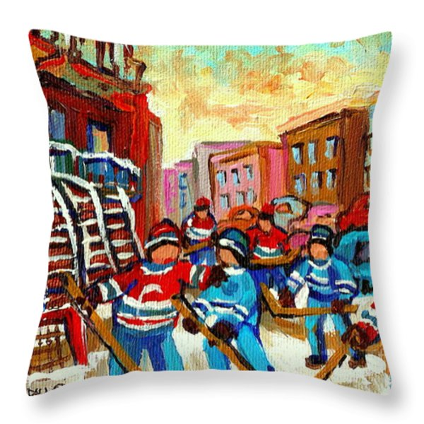 Whimsical Hockey Art Snow Day In Montreal Winter Urban Landscape City Scene Painting Carole Spandau Throw Pillow by Carole Spandau