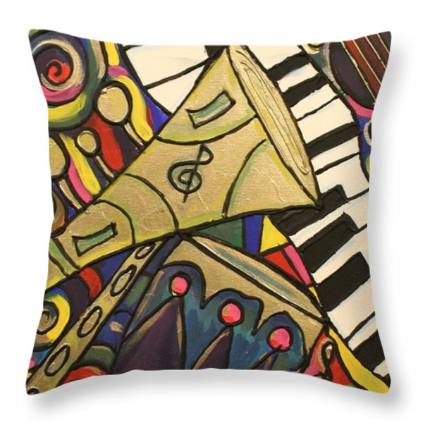 Whimsical Jazz Throw Pillow by Cynthia Snyder