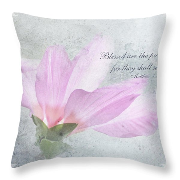 Whisper To Me With Verse Throw Pillow by Debbie Portwood