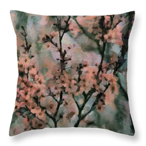 whispering cherry blossoms Throw Pillow by Janice MacLellan
