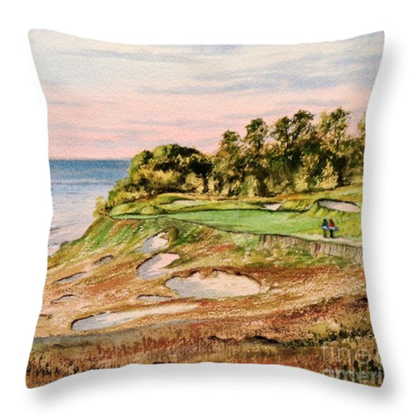 Whistling Straits Golf Course 17Th Hole Throw Pillow by Bill Holkham