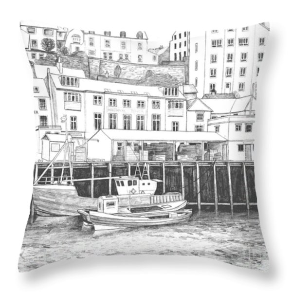 Whitby Harbour Throw Pillow by Shirley Miller