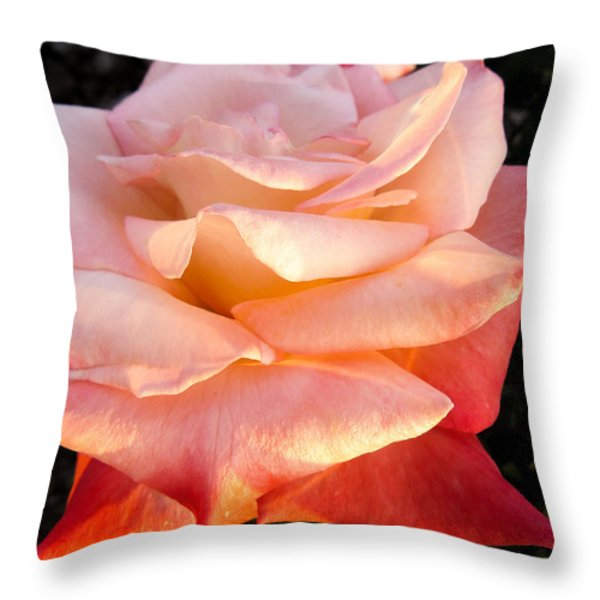 White And Peach Throw Pillow by Zina Stromberg
