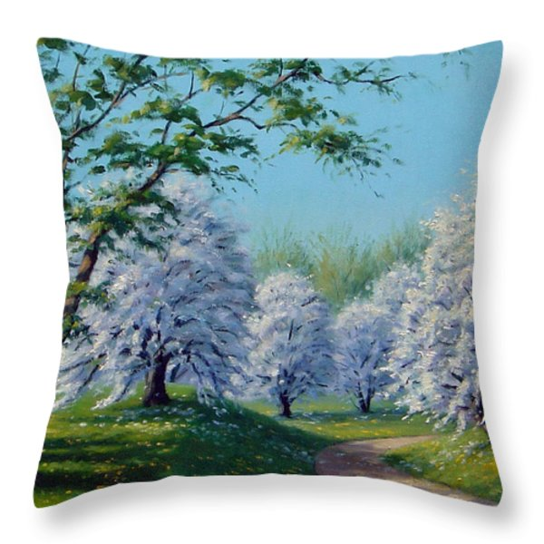 White Blossoms Throw Pillow by Rick Hansen