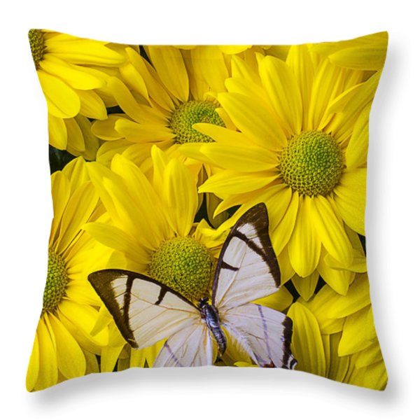 White Butterfly On Yellow Mums Throw Pillow by Garry Gay