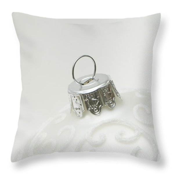 White Christmas Throw Pillow by Anne Gilbert