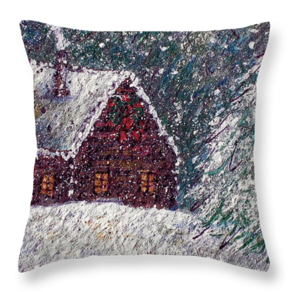 White Christmas Throw Pillow by Natalie Holland