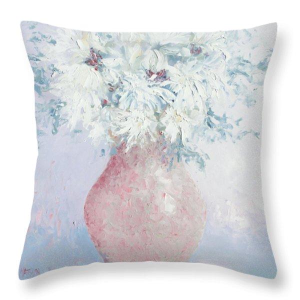 White Chrysanthemums Throw Pillow by Jan Matson