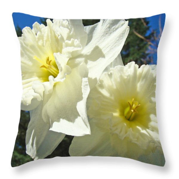 White Daffodils Flowers art prints Spring Throw Pillow by Baslee Troutman