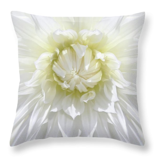 White Dahlia Floral Delight Throw Pillow by Jennie Marie Schell