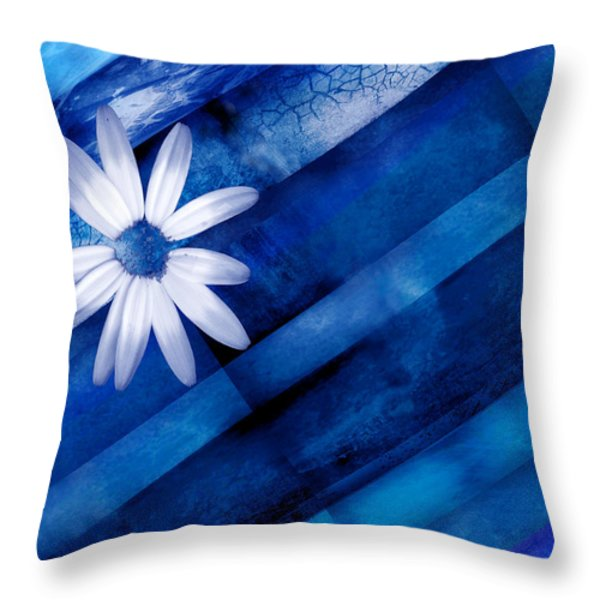 White Daisy On Blue Two Throw Pillow by Ann Powell
