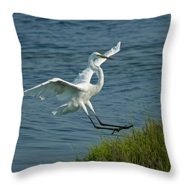 White Egret Landing 2 Throw Pillow by Ernie Echols