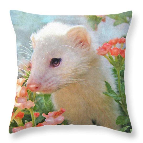 white ferret Throw Pillow by Jane Schnetlage
