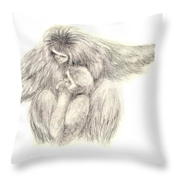 White Handed Gibbons--mother And Son Throw Pillow by Jingfen Hwu