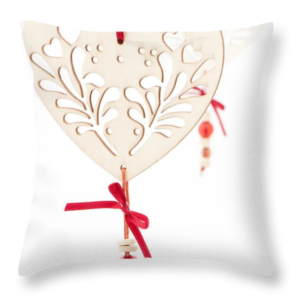 White Hearts Throw Pillow by Anne Gilbert