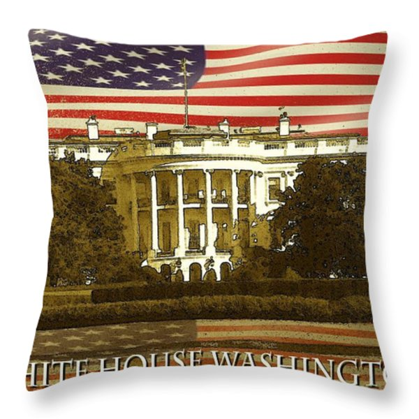 White House Washington - Patriotic Poster Throw Pillow by Peter Fine Art Gallery  - Paintings Photos Digital Art
