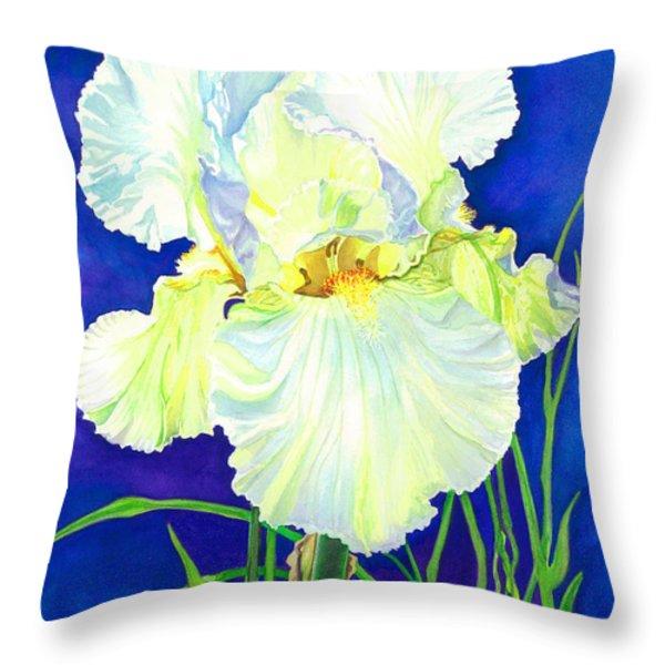 White Iris Throw Pillow by Barbara Jewell