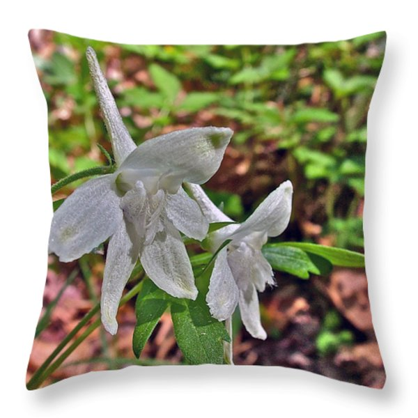 White Larkspur On Rock Spring Trail Near Natchez Trace Parkway-alabama Throw Pillow by Ruth Hager