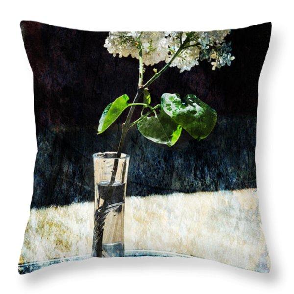 White Lilacs Throw Pillow by Randi Grace Nilsberg