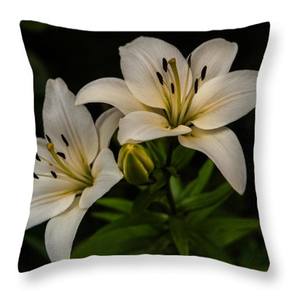 White Lilies Throw Pillow by Davorin Mance