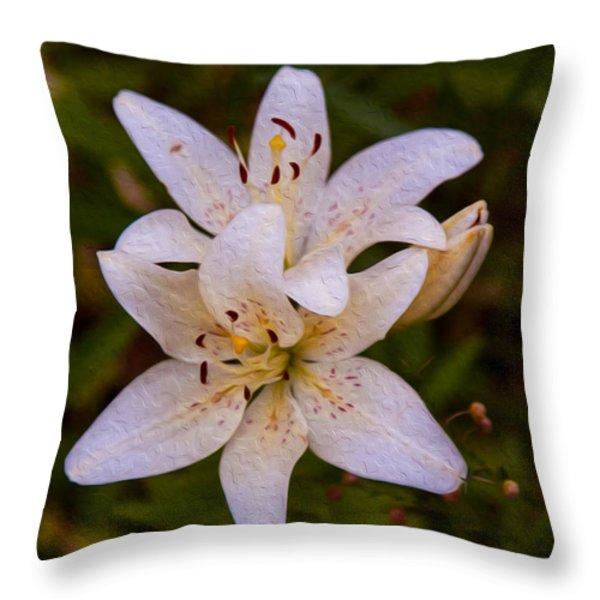 White Lily Starburst Throw Pillow by Omaste Witkowski