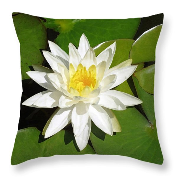 White Lotus Throw Pillow by Ellen Henneke