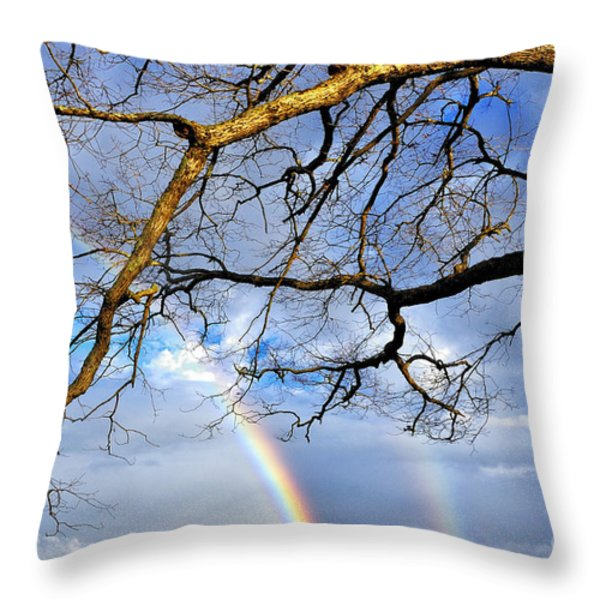 White Oak And Double Rainbow Throw Pillow by Thomas R Fletcher