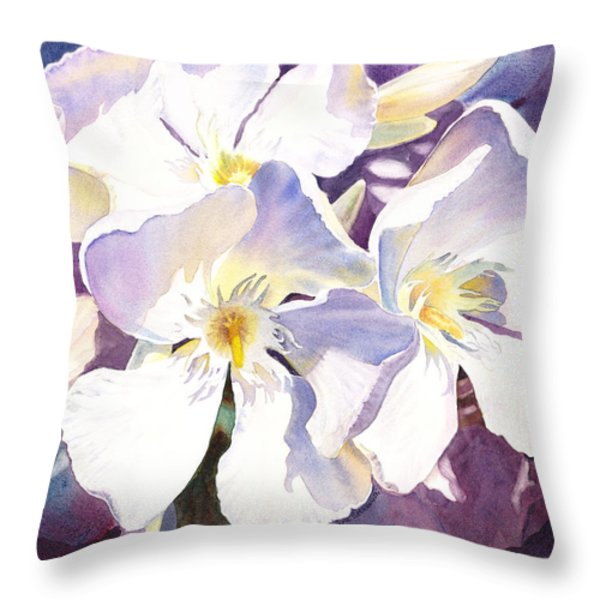 White Oleander Throw Pillow by Irina Sztukowski