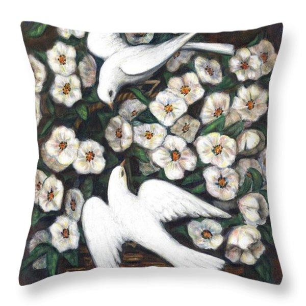 White On White Throw Pillow by Linda Mears