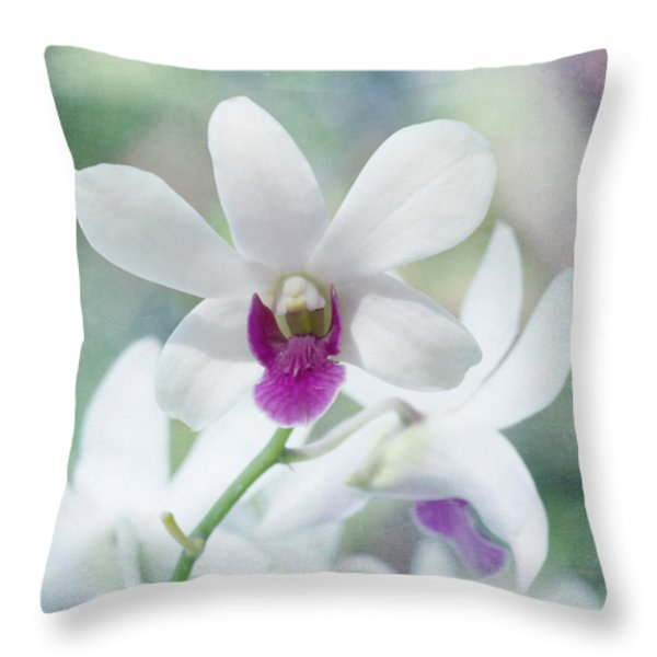 White Orchid Throw Pillow by Kim Hojnacki