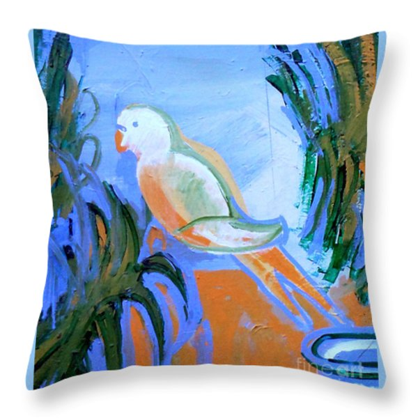 White Parakeet Throw Pillow by Genevieve Esson