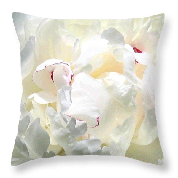 White Peony Throw Pillow by Will Borden