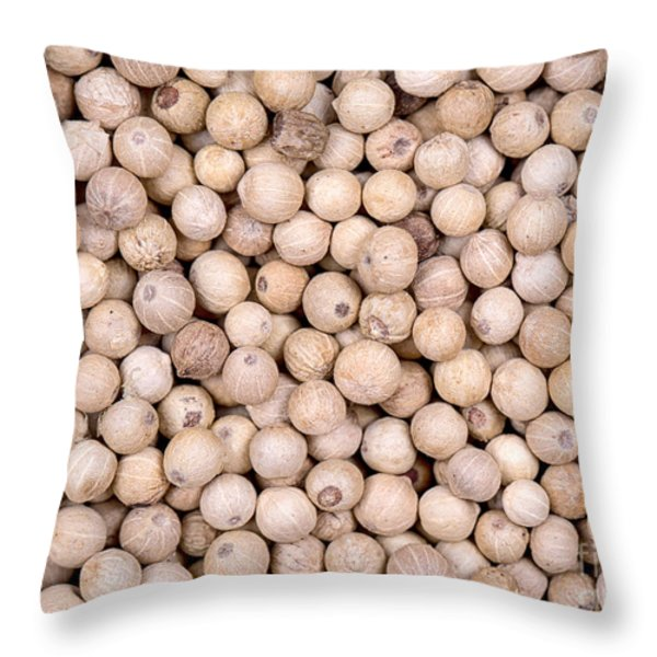 White peppercorn background Throw Pillow by Jane Rix